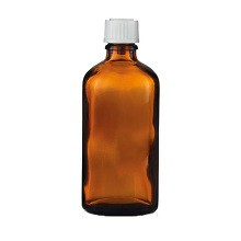 Apothekerflasche braun, 100ml DIN18 mit Deckel weiss